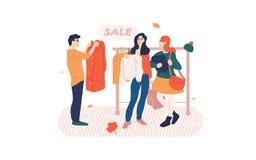 Vêtements de lecture rapide de personnes sur un support dans le magasin illustration de vecteur