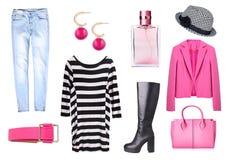 Vêtements du ` s de femmes réglés d'isolement Photographie stock libre de droits