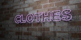 VÊTEMENTS - Enseigne au néon rougeoyant sur le mur de maçonnerie - 3D a rendu l'illustration courante gratuite de redevance Images libres de droits