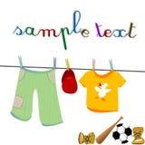 Vêtements et jouets Photo stock