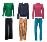 Vêtements femelles de mode réglés La femme vêtx le collage d'isolement Images stock