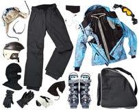 Vêtements femelles de skieur Photos libres de droits