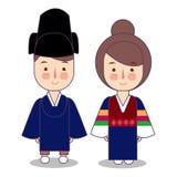 Vêtements nationaux traditionnels cérémonieux de roi et de reine de la Corée Ensemble de personnages de dessin animé dans le cost illustration libre de droits