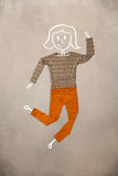 Vêtements placés dans l'action avec le dessin de femme Photo libre de droits