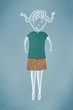 Vêtements placés dans l'action avec le dessin de femme images stock