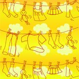 Vêtements propres et secs accrochant sur la corde à linge illustration de vecteur