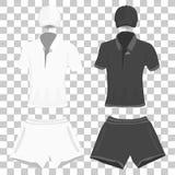 Vêtements réglés : polo, casquette de baseball et couleurs noires et blanches de shorts Illustration de dessin de vecteur Illustration Stock
