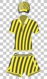 Vêtements réglés : polo, casquette de baseball et shorts noirs et couleurs jaunes Illustration de dessin de vecteur Illustration Stock