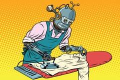 Vêtements repassés par employé de robot de vintage illustration de vecteur