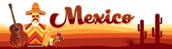 Vêtements traditionnels mexicains de chapeau de sombrero de crâne avec la guitare illustration libre de droits