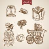 Vêtements traditionnels victoriens d'enfants gravant le vecteur de vintage illustration stock