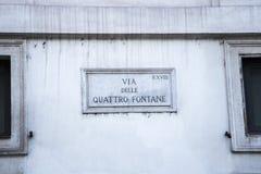 Vía el delle Quattro Fontane es una calle en Roma Fotos de archivo libres de regalías
