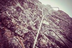 Vía ferrata en montañas Imágenes de archivo libres de regalías