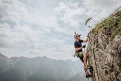 Vía Ferrata que sube en Austria Fotos de archivo