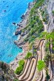 Vía Krupp en Marina Piccola en la isla de Capri del mar tirreno foto de archivo