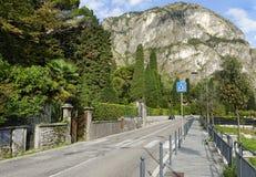 Vía la calle del statale, Cadenabbia, lago Como Fotos de archivo libres de regalías