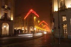 Vía Pietro Micca con las luces de la Navidad imagen de archivo libre de regalías