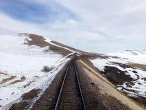 Vías del tren en paisaje nevoso Imagen de archivo
