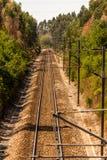 Vías del tren, ferrocarril Fotos de archivo libres de regalías
