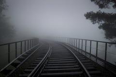 Vías en la niebla, Ella, Sri Lanka Imagenes de archivo