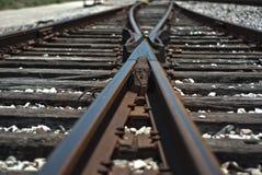 Vías envejecidas del tren Foto de archivo libre de regalías