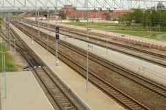 Vías ferroviarias para los trenes Imagen de archivo libre de regalías