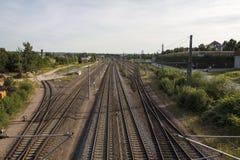 Vías a la estación de tren de Werdau, Alemania, 2015 Imagen de archivo libre de regalías