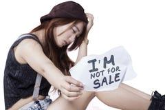 Víctima adolescente triste de la muchacha del tráfico humano Imagenes de archivo