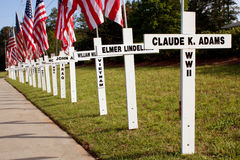 Víctimas de guerra honradas con las cruces para el Memorial Day Fotografía de archivo