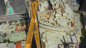 Vídeo aéreo da baixa highrise Miami FL da construção video estoque