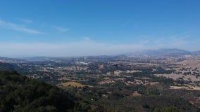 Vídeo aéreo de California del valle de Santa Ynez del punto de Vista almacen de metraje de vídeo
