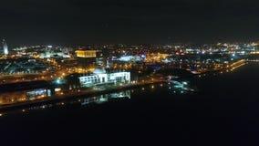 Vídeo aéreo de Camden New Jersey Waterfront en la noche metrajes