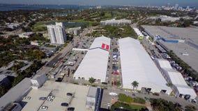 Vídeo aéreo de la demostración 2015 del barco de Miami almacen de metraje de vídeo