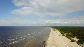 Vídeo aéreo de la opinión superior 4K UHD del abejón de la playa del mar Báltico de Vecaki Letonia almacen de video
