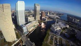 Vídeo aéreo de Tampa céntrica la Florida almacen de metraje de vídeo