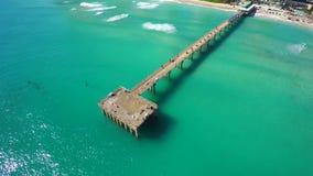 Vídeo aéreo del embarcadero de la pesca de Sunny Isles Beach almacen de video