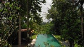 vídeo aéreo do voo 4K da piscina da infinidade na casa de campo luxuosa na selva Ilha de Bali video estoque