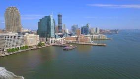 Vídeo aéreo Jersey City céntrico almacen de metraje de vídeo