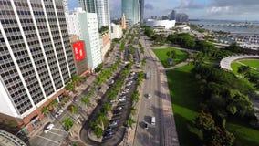 Vídeo aéreo Miami céntrica Biscayne almacen de metraje de vídeo