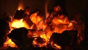 Vídeo ardiente de la chimenea de las ascuas almacen de metraje de vídeo