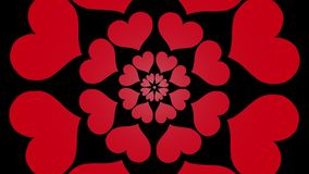 Vídeo común hermoso agradable fresco floreciente sin fin 4k del lazo de la flor de la forma del corazón de la animación calidad i ilustración del vector
