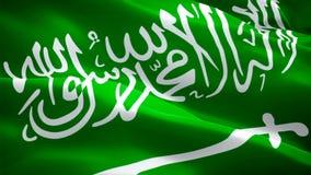 Vídeo completo da metragem do close up 1080p HD 1920X1080 da bandeira do saudita que acena no vento Ondulação nacional da band