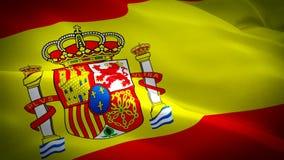 V?deo completo espanhol da metragem do close up 1080p HD 1920X1080 da bandeira que acena no vento Ondula??o espanhola nacional da