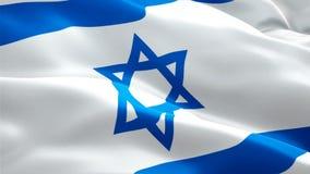 Vídeo completo judaico da metragem do close up 1080p HD 1920X1080 da bandeira que acena no vento Ondulação judaica nacional da