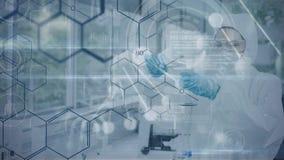 Vídeo compuesto de Digitaces del laboratorio de trabajo del técnico stock de ilustración