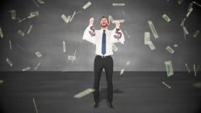 Vídeo compuesto del hombre de negocios que sostiene bolsos del dinero ilustración del vector