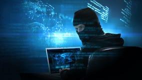 Vídeo compuesto del pirata informático que usa el ordenador portátil ilustración del vector
