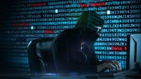 Vídeo compuesto del pirata informático que usa el ordenador portátil libre illustration