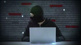Vídeo compuesto del pirata informático que usa el ordenador portátil stock de ilustración