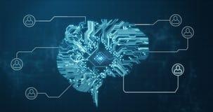 Vídeo conceptual del cerebro de la conexión del circuito libre illustration